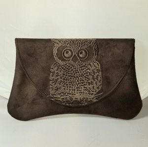Shiraleah Owl Clutch Chocolate Brown Embroidered